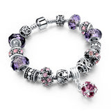 Charm Bracelets & Bangles With Crystal Beads in Blue, Pink and Other Colors