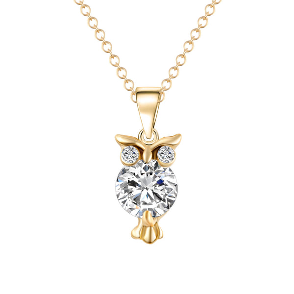 Elegant Gold or Silver Color Cubic Zirconia Owl Pendant Necklaces