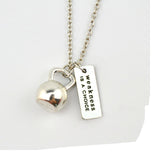 "Weight & Fitness Barbell Necklace Silver ""Train Hard or Go Home"" Kettle Bell  Gymn Necklace"