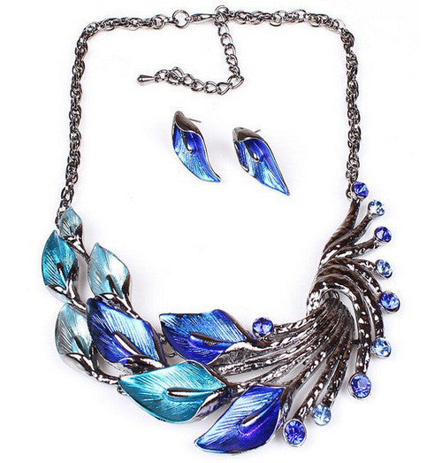 New High Fashion Flower Statement Necklace & Earrings Set