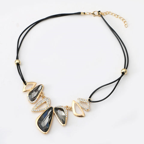 Leather chain necklace vintage geometry water drop crystal pendant leather chain necklace vintage geometry water drop crystal pendant aloadofball Gallery