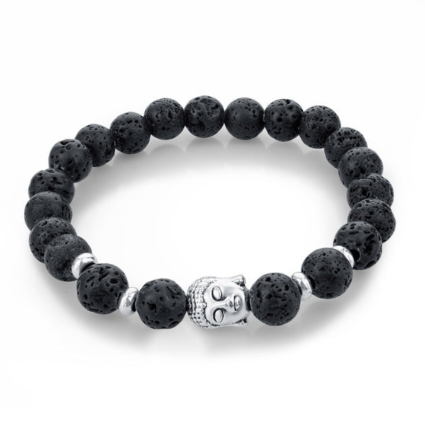 Buddha Bracelet Mala Beads Black Lava & Natural Stones For Women and Men
