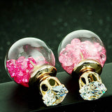 Doubled Sided Earrings Crystal Ball