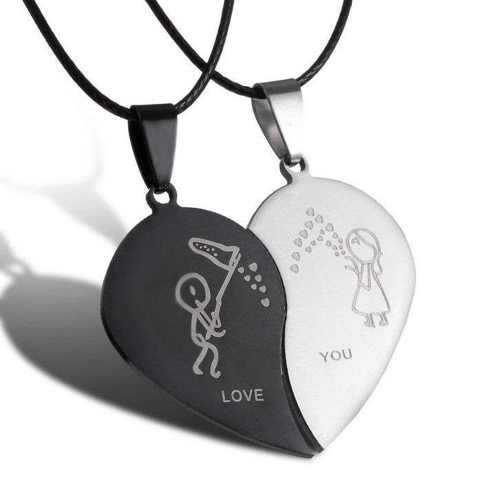 Love You Kisses Couple Heart With Black Cord Necklaces Stainless Steel Engraved Love You Pendants