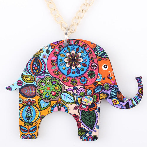 Happy Elephant necklace acrylic pendant