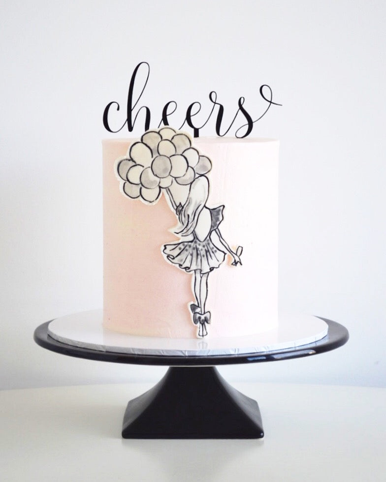 """Cheers"" Cake Topper"