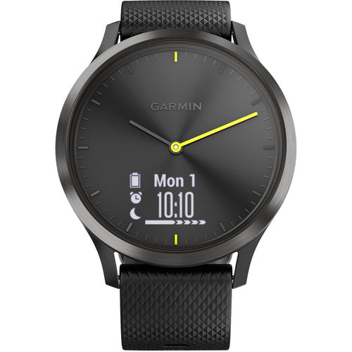 Garmin vivomove HR Sport Watch (Large, Black with Black Silicone Band)