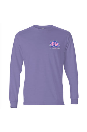 Texas Pure Colorful Armadillo Texas T-Shirt - Long Sleeve - Front - Violet