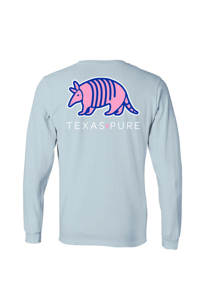 Texas Pure Long Sleeve T-Shirt - Colorful Armadillo - Azure - Back