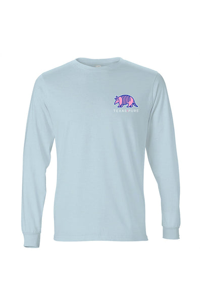 Texas Pure Long Sleeve T-Shirt - Colorful Armadillo - Azure - Front