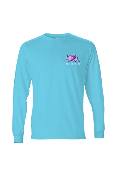 Texas Pure Long Sleeve T-Shirt - Colorful Armadillo - Teal - Front
