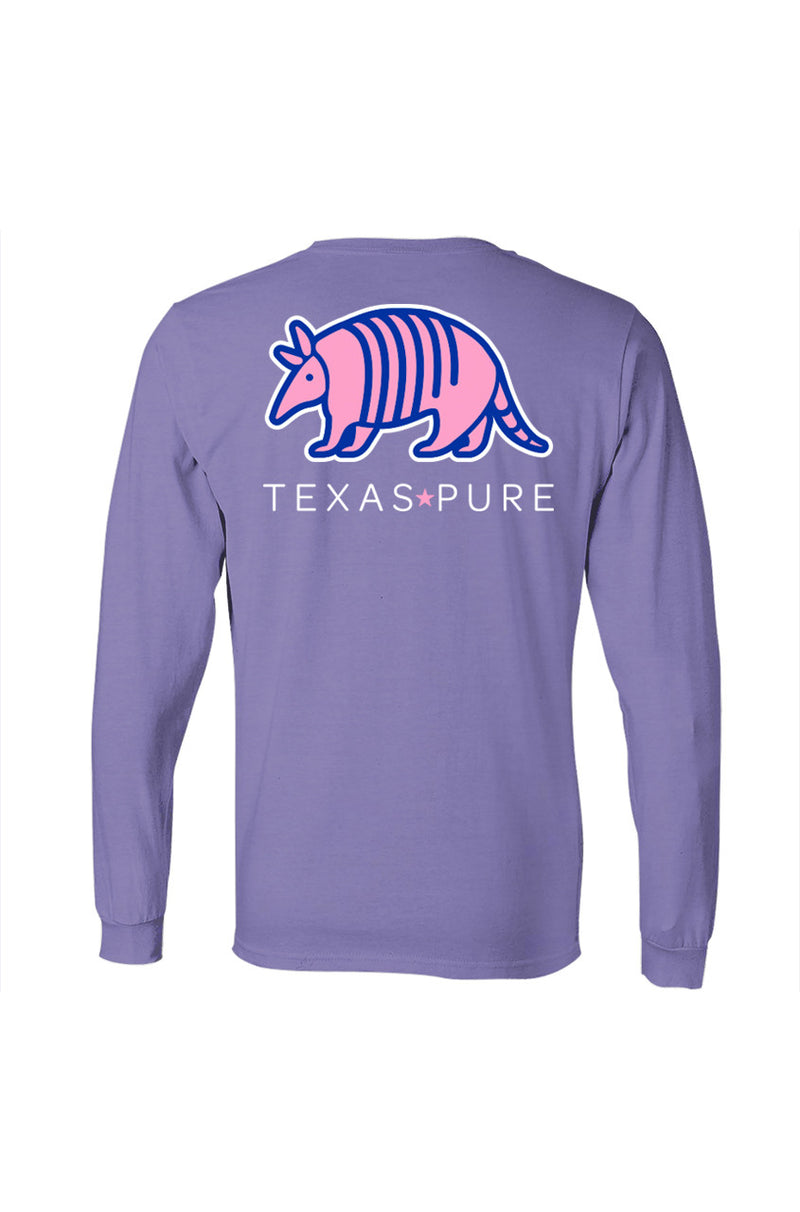 Texas Pure Long Sleeve T-Shirt - Colorful Armadillo - Violet - Back