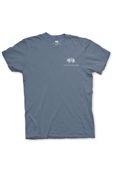 Texas Pure Product Dillo Badge Short Sleeve Texas Tee - Blue - Front