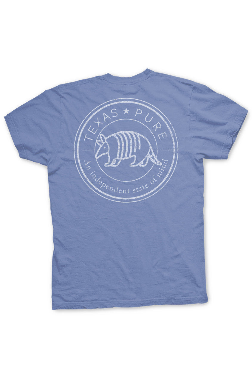 Armadillo Texas Pure Badge Tee - Blue - Back