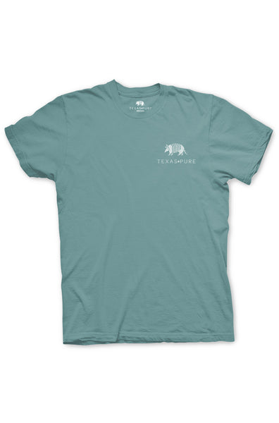Texas Pure Product Dillo Badge Short Sleeve Texas Tee - Gulf Coast Blue - Front