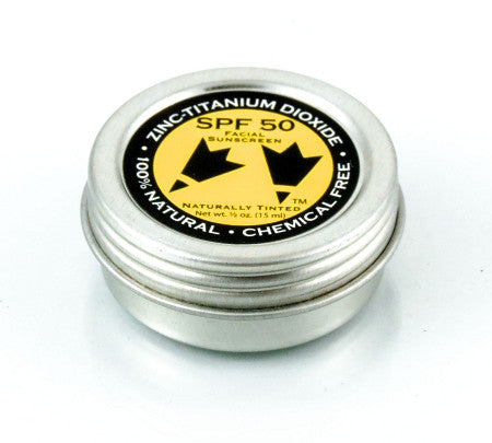 All Natural SPF 50 Tinted, Faces Sunscreen Creme .5 oz refillable tin jar