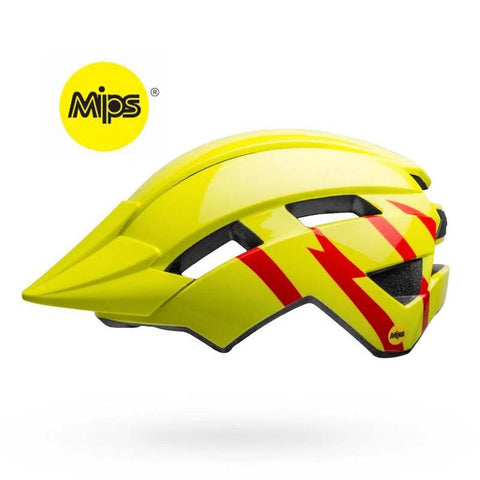 Bell Sidetrack II MIPS Strike Gloss Hi-Viz and Red Youth Bike Helmet