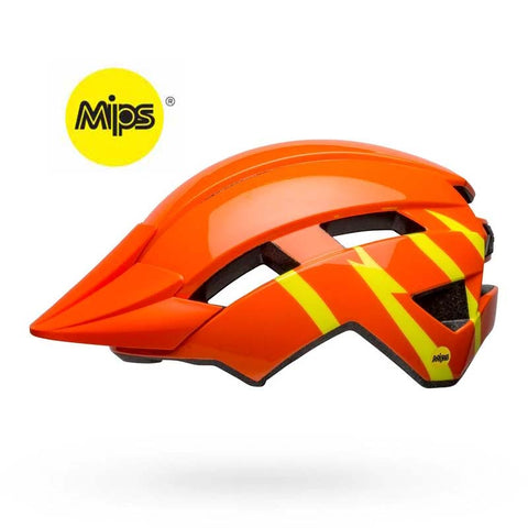 Bell Sidetrack II MIPS Strike Gloss Orange and Yellow Youth Bike Helmet