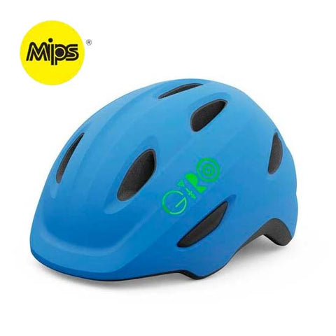 Giro Scamp MIPS Matte Blue and Lime Youth Bike Helmet
