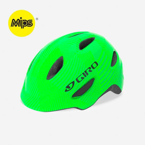 Giro Scamp MIPS Green with Lime Lines Youth Bike Helmet