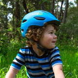 Giro Scamp MIPS Matte Blue and Lime Youth Bike Helmet on Child