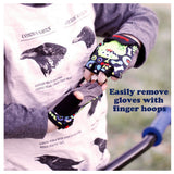 ZippyRooz Geometric Kids Bike Gloves Easy Off Loops