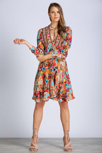 COVENT GARDEN -  Boho Mini Dress With Bell Sleeve