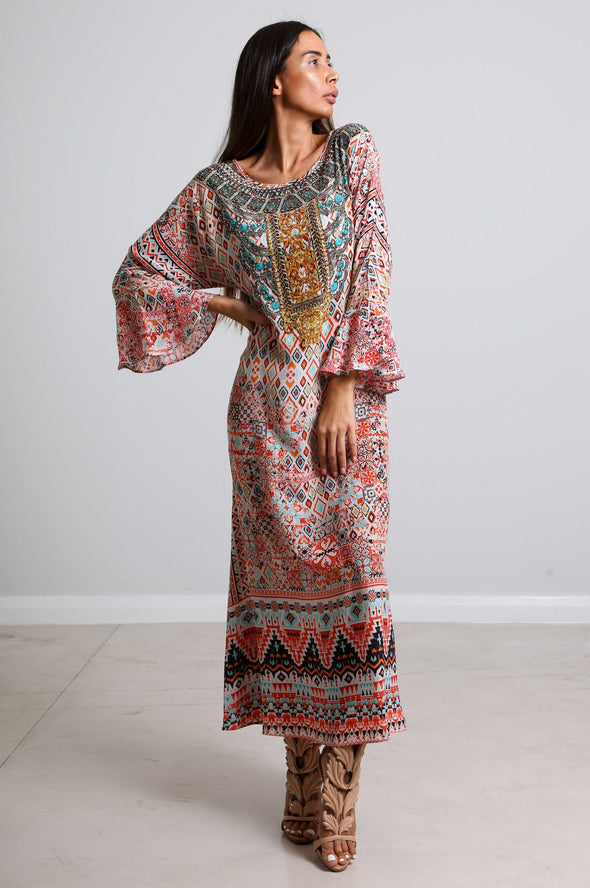 ALEPPO - LONG KAFTAN WITH FRILL SLEEVES