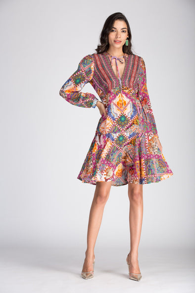 TUNISIA -  Boho Mini Dress With Bell Sleeve