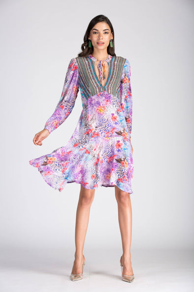 St.LUCIA -  Boho Mini Dress With Bell Sleeve