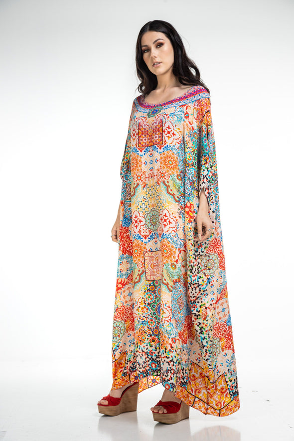 SUMMER TANGERINE - Box Kaftan