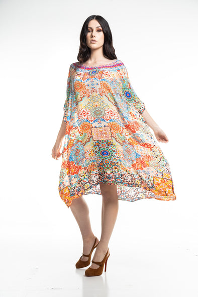 SUMMER TANGERINE - SHORT BOX KAFTAN