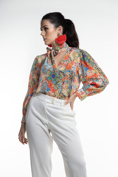 SUMMER TANGERINE - BOHEME SHIRT WITH NECK TIE