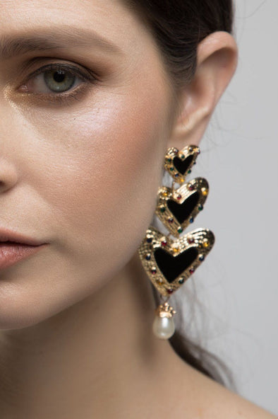 JEWELLERY - GOLD HEART DROP EARRINGS (BLACK)