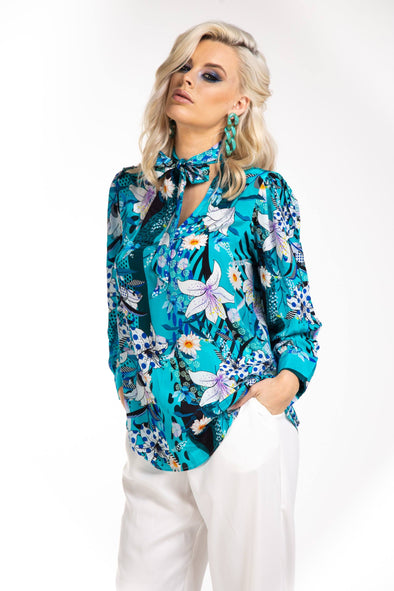 AQUA LUNA - BOHEME SHIRT WITH NECK TIE