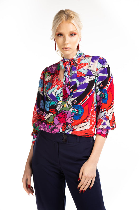AKARI - BOHEME SHIRT WITH NECK TIE