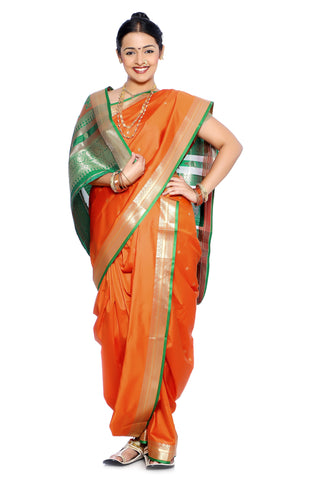 Traditional Brahmani Style Maharashtrian Prestitched Ready To Wear Saree With Stetched Blouse