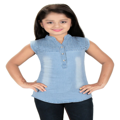 Bluntly Girls Denim Ice Blue Western Top