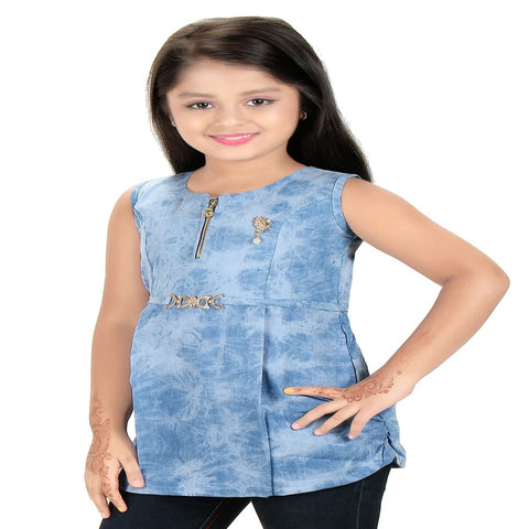 Bluntly Girls Denim Stone Wash Top