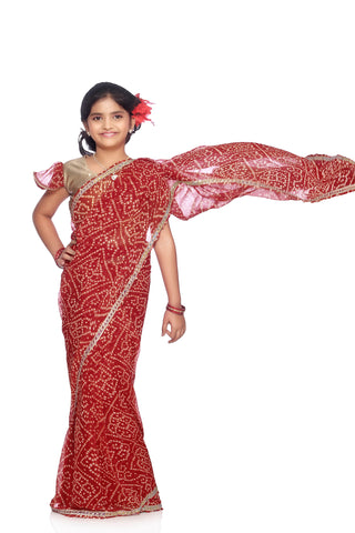 Bhartiya Paridhan Girls Ready To Wear Stitched Traditional Designer Saree With Stitched Blouse