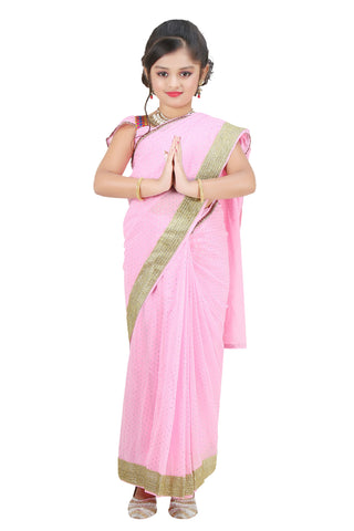 Bhartiya Paridhan Girls Ready To Wear Stitched Designer Saree With Stitched Blouse