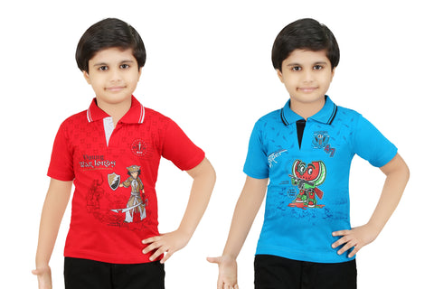 Bluntly Colour Kids Boys Printed T-Shirts- Pack of 2Pc.