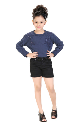 Clench Girls Denim Black Short