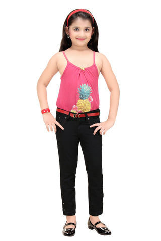 Clench Girl's Ankle Length Denim Jeans