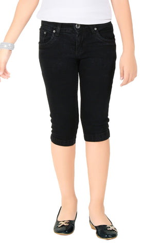Clench Girls Denim Black Short Knee Length Capri