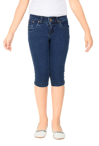 Clench Girls Denim DX Blue Short Knee Length Capri