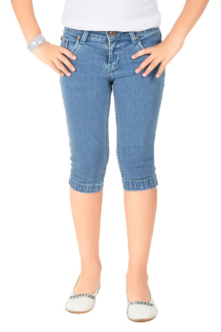 Clench Girls Denim Stone Blue Short Knee Length Capri