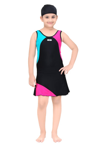 Fashion Fever Girl's One-Piece Swim Suits with Cap