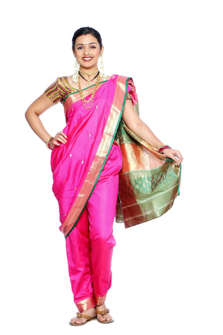 Traditional Lavani Style Maharashtrian Prestitched Ready To Wear Saree With Stetched Blouse