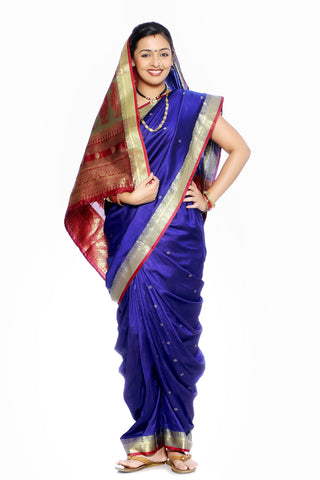 Traditional Marathmoli Style Maharashtrian Prestitched Ready To Wear Saree With Stetched Blouse